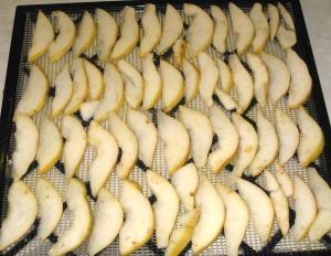 Pears on dehydrator tray