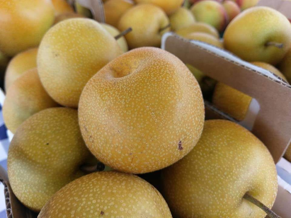 This image has an empty alt attribute; its file name is asian-pears.jpg